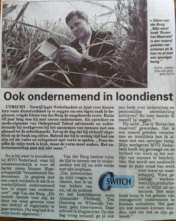 Artikel uit De Telegraaf van 9 juni 2012 over boek Boven het maaiveld